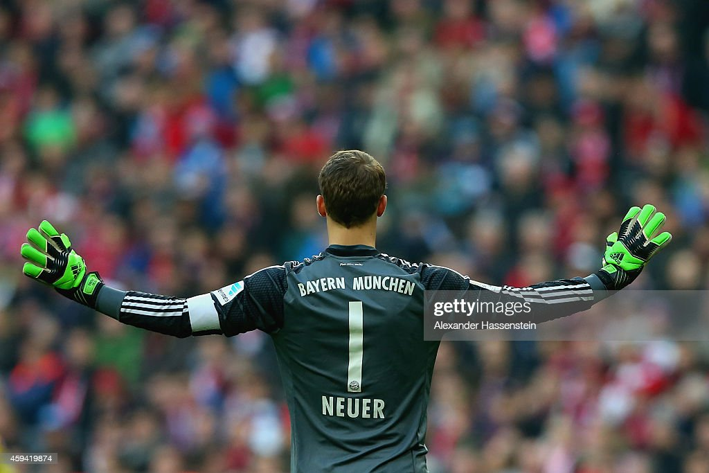 <a gi-track='captionPersonalityLinkClicked' href=/galleries/search?phrase=Manuel+Neuer&family=editorial&specificpeople=764621 ng-click='$event.stopPropagation()'>Manuel Neuer</a>, keeper of Muenchen reacts during the Bundesliga match between FC Bayern Muenchen and 1899 Hoffenheim at Allianz Arena on November 22, 2014 in Munich, Germany.