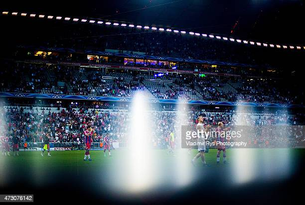 Manuel Neuer of Bayern and his team mates acknowledge their fans following the final whistle of the second leg of the UEFA Champions League semifinal...