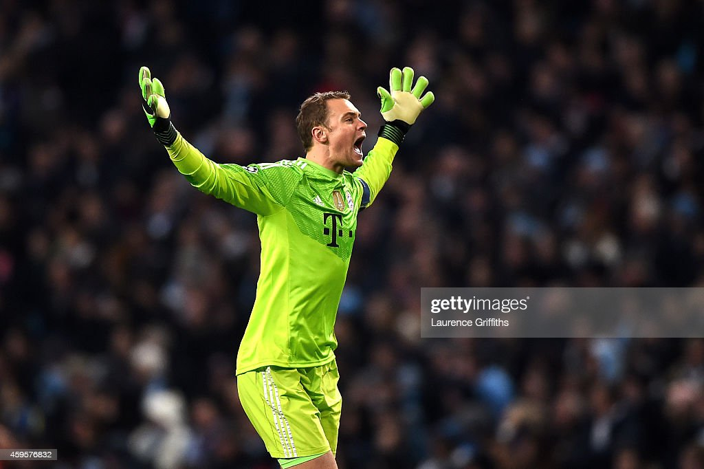 <a gi-track='captionPersonalityLinkClicked' href=/galleries/search?phrase=Manuel+Neuer&family=editorial&specificpeople=764621 ng-click='$event.stopPropagation()'>Manuel Neuer</a> of Bayern Muenchen celebrates a goal during the UEFA Champions League Group E match between Manchester City and FC Bayern Muenchen at the Etihad Stadium on November 25, 2014 in Manchester, United Kingdom.
