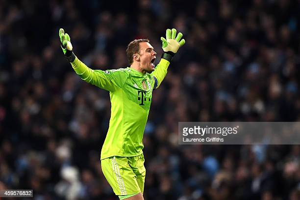 Manuel Neuer of Bayern Muenchen celebrates a goal during the UEFA Champions League Group E match between Manchester City and FC Bayern Muenchen at...