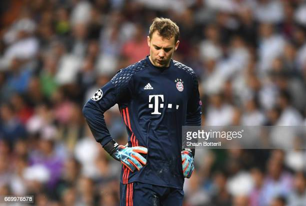 Manuel Neuer of Bayern Muenchen looks dejected during the UEFA Champions League Quarter Final second leg match between Real Madrid CF and FC Bayern...