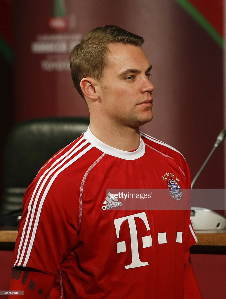 Manuel Neuer of Bayern Muenchen looks on during a press conference for the FIFA Club World Cup at Agadir Stadium on December 15, 2013 in Agadir, Morocco.