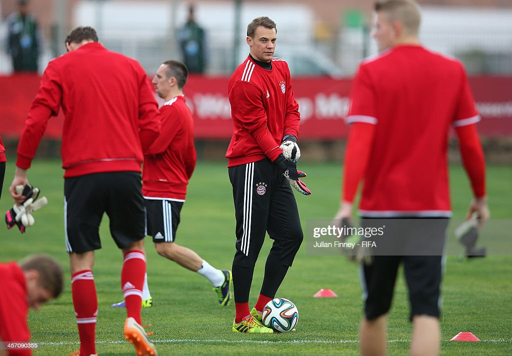 <a gi-track='captionPersonalityLinkClicked' href=/galleries/search?phrase=Manuel+Neuer&family=editorial&specificpeople=764621 ng-click='$event.stopPropagation()'>Manuel Neuer</a> of Bayern Muenchen looks on during a training session outside the Agadir Stadium on December 16, 2013 in Agadir, Morocco.