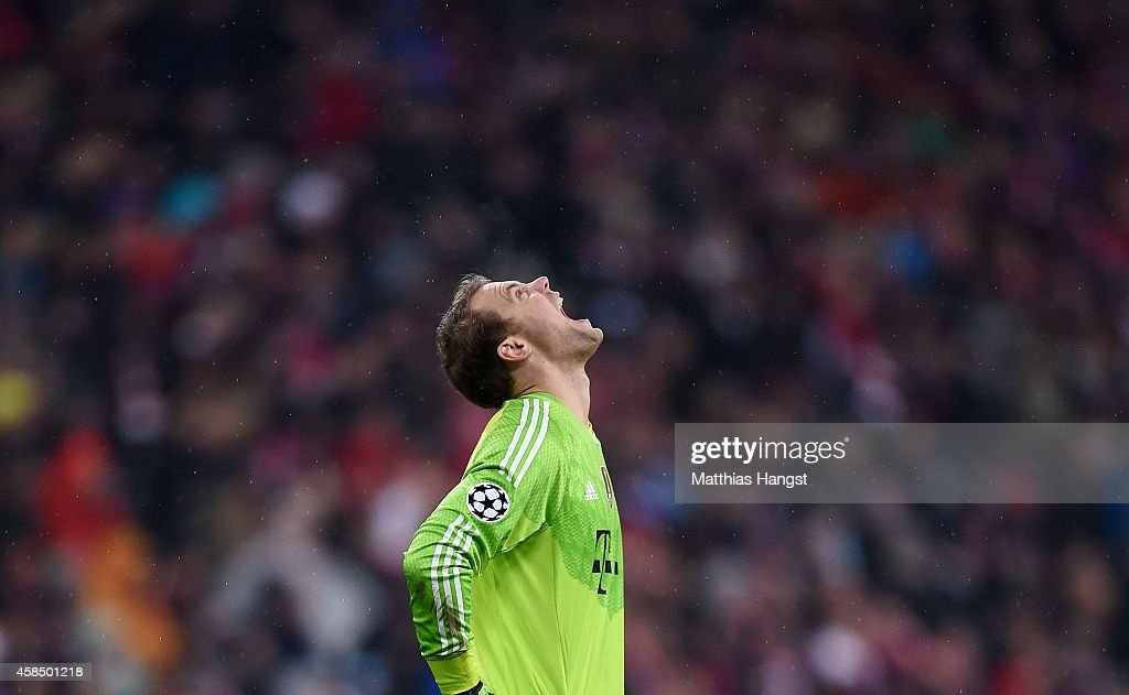 <a gi-track='captionPersonalityLinkClicked' href=/galleries/search?phrase=Manuel+Neuer&family=editorial&specificpeople=764621 ng-click='$event.stopPropagation()'>Manuel Neuer</a> of Bayern Muenchen reacts during the UEFA Champions League Group E match between FC Bayern Munchen and AS Roma at Allianz Arena on November 5, 2014 in Munich, Germany.