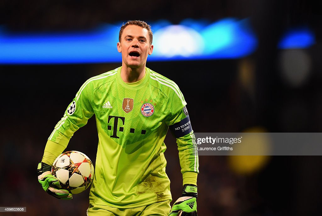 <a gi-track='captionPersonalityLinkClicked' href=/galleries/search?phrase=Manuel+Neuer&family=editorial&specificpeople=764621 ng-click='$event.stopPropagation()'>Manuel Neuer</a> of Bayern Munchen looks on during the Champions League Group E match between Manchester City and FC Bayern Munchen on November 25, 2014 in Manchester, United Kingdom.