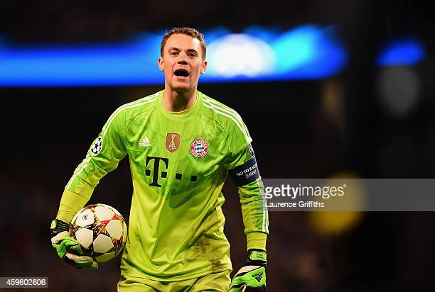 Manuel Neuer of Bayern Munchen looks on during the Champions League Group E match between Manchester City and FC Bayern Munchen on November 25 2014...