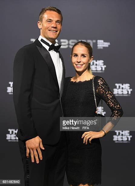 Manuel Neuer of Germany and Bayern Munich poses with his partner Nina Weiss as they arrive for The Best FIFA Football Awards at TPC Studio on January...