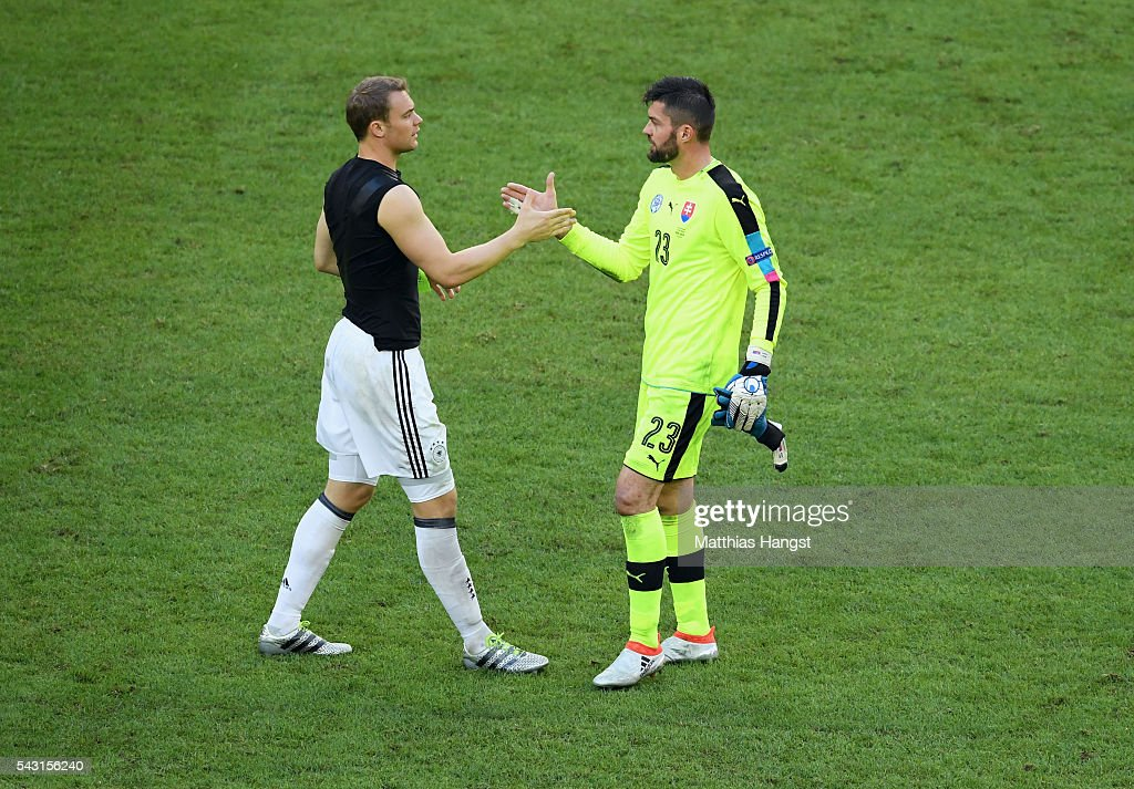 <a gi-track='captionPersonalityLinkClicked' href=/galleries/search?phrase=Manuel+Neuer&family=editorial&specificpeople=764621 ng-click='$event.stopPropagation()'>Manuel Neuer</a> of Germany and Matus Kozacik of Slovakia shake hands after the UEFA EURO 2016 round of 16 match between Germany and Slovakia at Stade Pierre-Mauroy on June 26, 2016 in Lille, France.