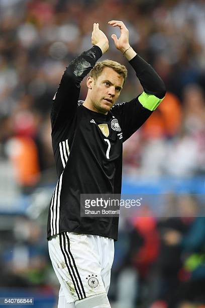 Manuel Neuer of Germany applauds the supporters after his team's scoreless draw in the UEFA EURO 2016 Group C match between Germany and Poland at...