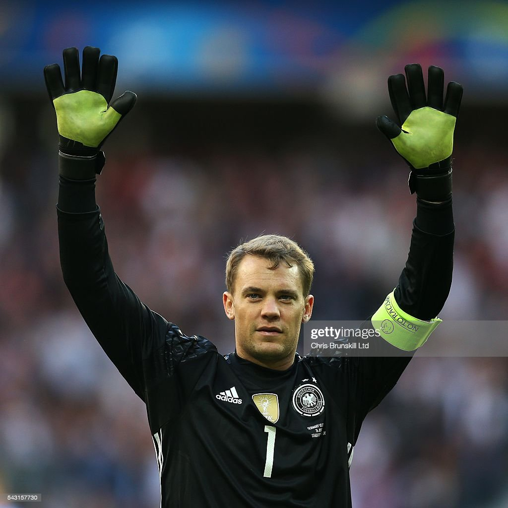 Manuel Neuer of Germany applauds the supporters at full-time following the UEFA Euro 2016 Round of 16 match between Germany and Slovakia at Stade Pierre-Mauroy on June 26, 2016 in Lille, France.