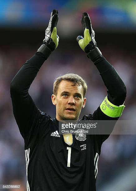 Manuel Neuer of Germany applauds the supporters at fulltime following the UEFA Euro 2016 Round of 16 match between Germany and Slovakia at Stade...