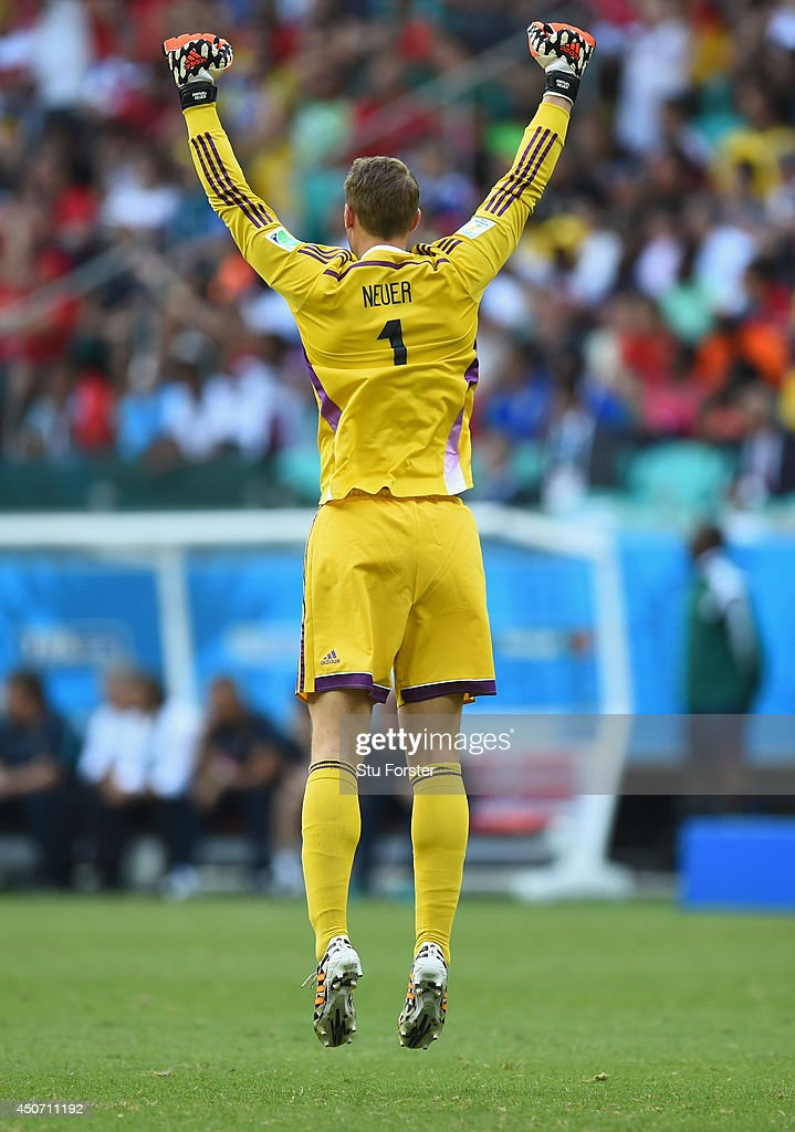 <a gi-track='captionPersonalityLinkClicked' href=/galleries/search?phrase=Manuel+Neuer&family=editorial&specificpeople=764621 ng-click='$event.stopPropagation()'>Manuel Neuer</a> of Germany celebrates after defeating Portugal 4-0 during the 2014 FIFA World Cup Brazil Group G match between Germany and Portugal at Arena Fonte Nova on June 16, 2014 in Salvador, Brazil.