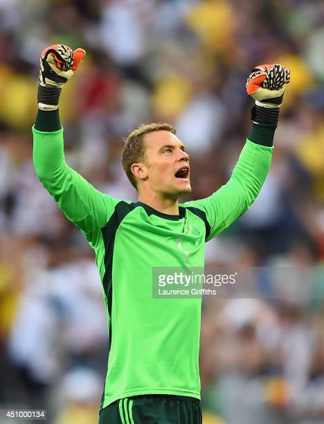 Manuel Neuer of Germany celebrates his team's first goal during the 2014 FIFA World Cup Brazil Group G match between Germany and Ghana at Castelao on...