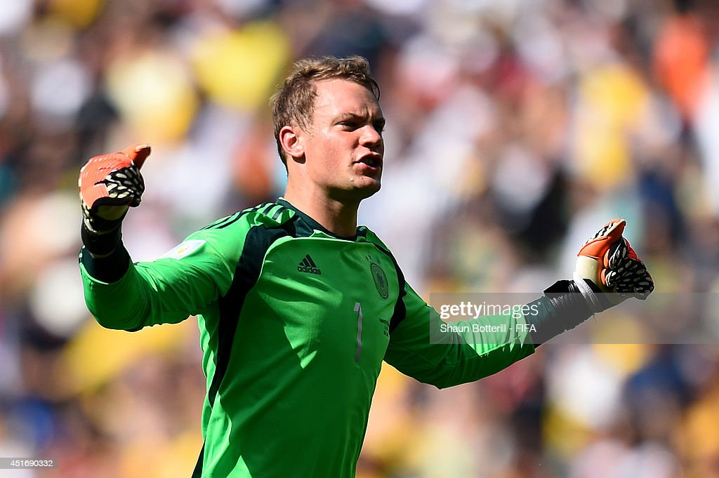 <a gi-track='captionPersonalityLinkClicked' href=/galleries/search?phrase=Manuel+Neuer&family=editorial&specificpeople=764621 ng-click='$event.stopPropagation()'>Manuel Neuer</a> of Germany celebrates his team's first goal during the 2014 FIFA World Cup Brazil Quarter Final match between France and Germany at Maracana on July 4, 2014 in Rio de Janeiro, Brazil.