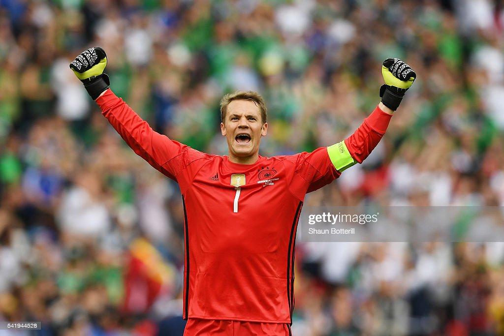 <a gi-track='captionPersonalityLinkClicked' href=/galleries/search?phrase=Manuel+Neuer&family=editorial&specificpeople=764621 ng-click='$event.stopPropagation()'>Manuel Neuer</a> of Germany celebrates his team's first goal during the UEFA EURO 2016 Group C match between Northern Ireland and Germany at Parc des Princes on June 21, 2016 in Paris, France.