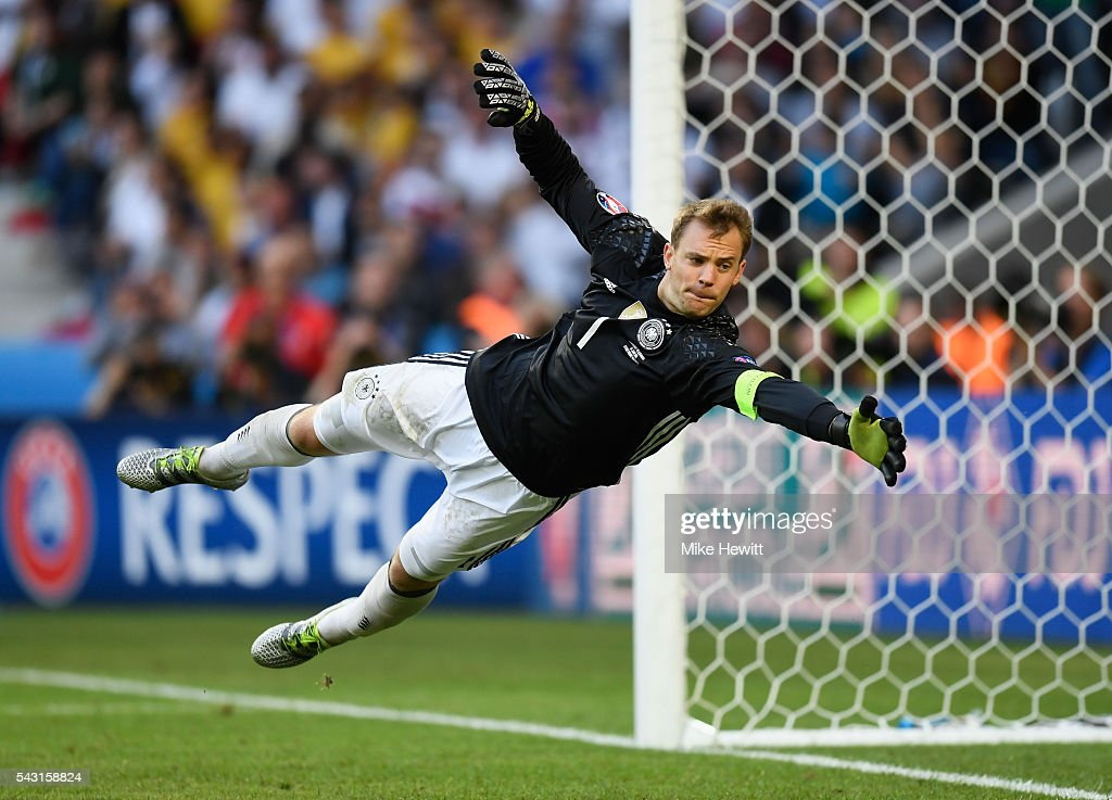<a gi-track='captionPersonalityLinkClicked' href=/galleries/search?phrase=Manuel+Neuer&family=editorial&specificpeople=764621 ng-click='$event.stopPropagation()'>Manuel Neuer</a> of Germany dives during the UEFA EURO 2016 round of 16 match between Germany and Slovakia at Stade Pierre-Mauroy on June 26, 2016 in Lille, France.