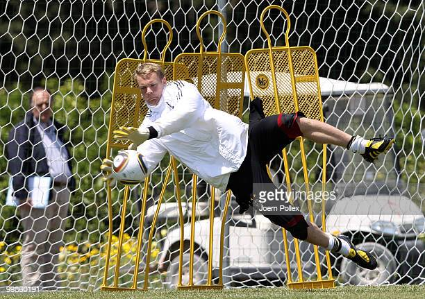 Manuel Neuer of Germany dives for the ball during the German National Team training session at Verdura Golf and Spa Resort on May 18 2010 in Sciacca...