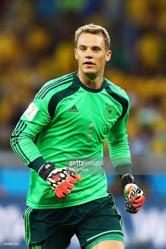 <a gi-track='captionPersonalityLinkClicked' href=/galleries/search?phrase=Manuel+Neuer&family=editorial&specificpeople=764621 ng-click='$event.stopPropagation()'>Manuel Neuer</a> of Germany during the 2014 FIFA World Cup Brazil Semi Final match between Brazil and Germany at Estadio Mineirao on July 8, 2014 in Belo Horizonte, Brazil.