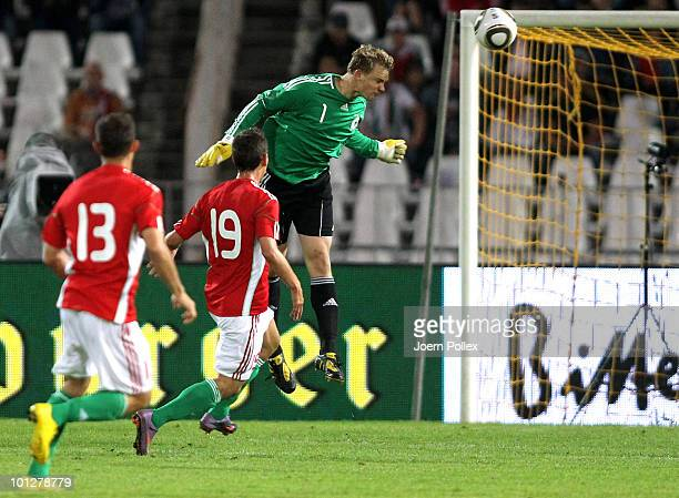 Manuel Neuer of Germany heads the ball during the international friendly match between Hungary and Germany at the Ferenc Puskas Stadium on May 29...