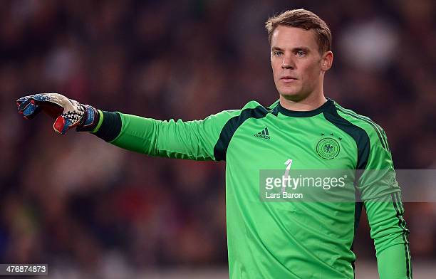 Manuel Neuer of Germany in action during the International Friendly match between Germany and Chile at MercedesBenz Arena on March 5 2014 in...