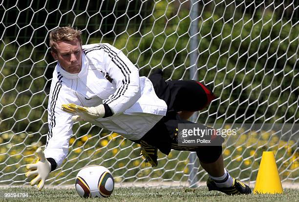 Manuel Neuer of Germany is seen in action during the German National Team training session at Verdura Golf and Spa Resort on May 16 2010 in Sciacca...