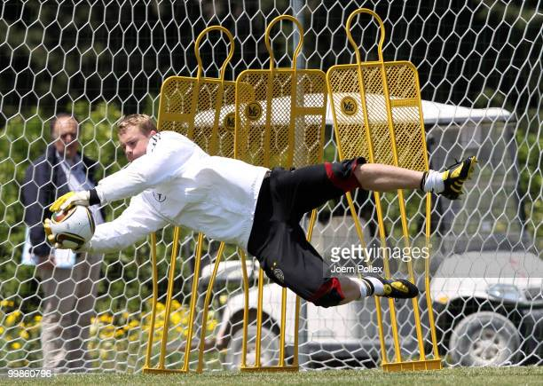 Manuel Neuer of Germany is seen in action during the German National Team training session at Verdura Golf and Spa Resort on May 18 2010 in Sciacca...