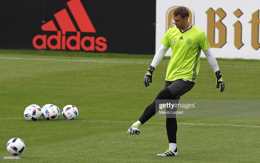 <a gi-track='captionPersonalityLinkClicked' href=/galleries/search?phrase=Manuel+Neuer&family=editorial&specificpeople=764621 ng-click='$event.stopPropagation()'>Manuel Neuer</a> of Germany kicks a ball during the German national team's pre-EURO 2016 training camp on May 28, 2016 in Ascona, Switzerland.