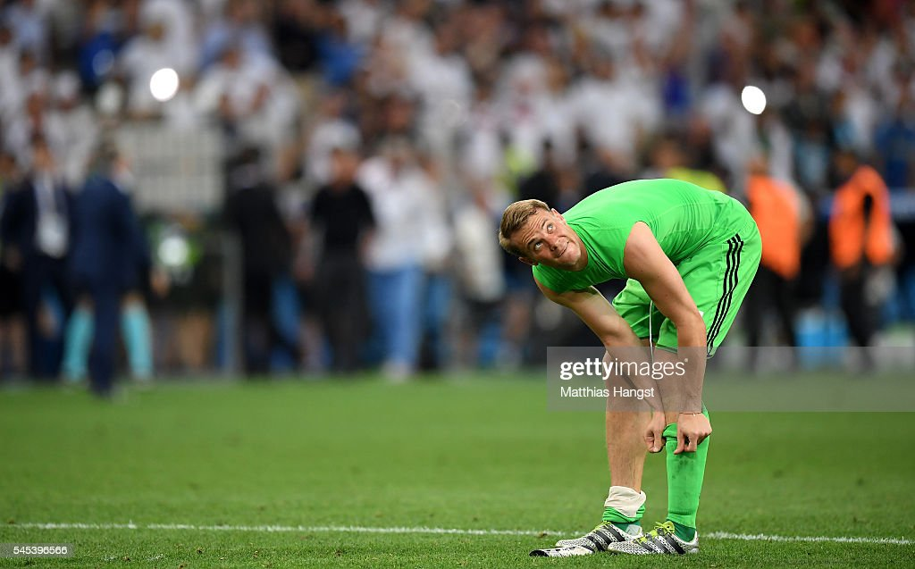 Manuel Neuer of Germany looks on after defeat in the UEFA EURO semi final match between Germany and France at Stade Velodrome on July 7 2016 in...