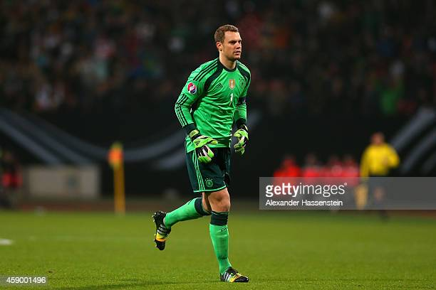 Manuel Neuer of Germany looks on during the EURO 2016 Group D Qualifier match between Germany and Gibraltar at Grundig Stadion on November 14 2014 in...