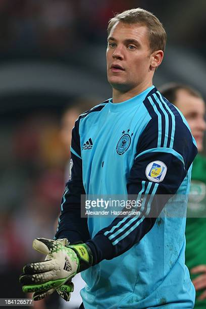 Manuel Neuer of Germany looks on during the FIFA 2014 World Cup Qualifier Group C match between Germany and Republic of Ireland at...