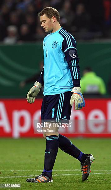 Manuel Neuer of Germany looks on during the International friendly match between Germany and Netherlands at Imtech Arena on November 15 2011 in...