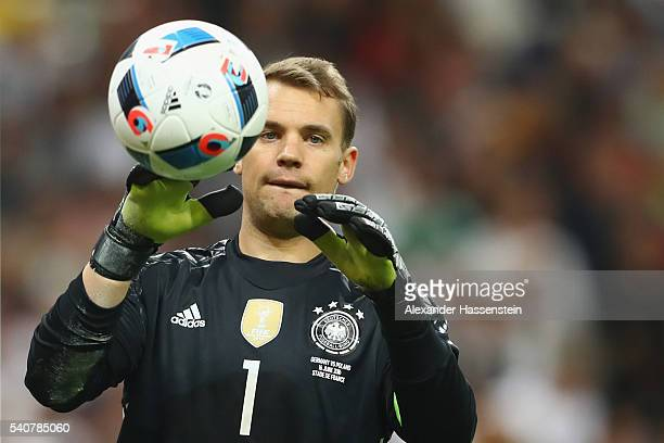 Manuel Neuer of Germany looks on during the UEFA EURO 2016 Group C match between Germany and Poland at Stade de France on June 16 2016 in Paris France