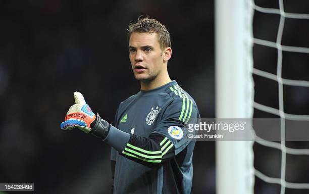 Manuel Neuer of Germany ponders during the FIFA 2014 World Cup qualifier group C match between German and Sweden at Olympiastadion on October 16 2012...