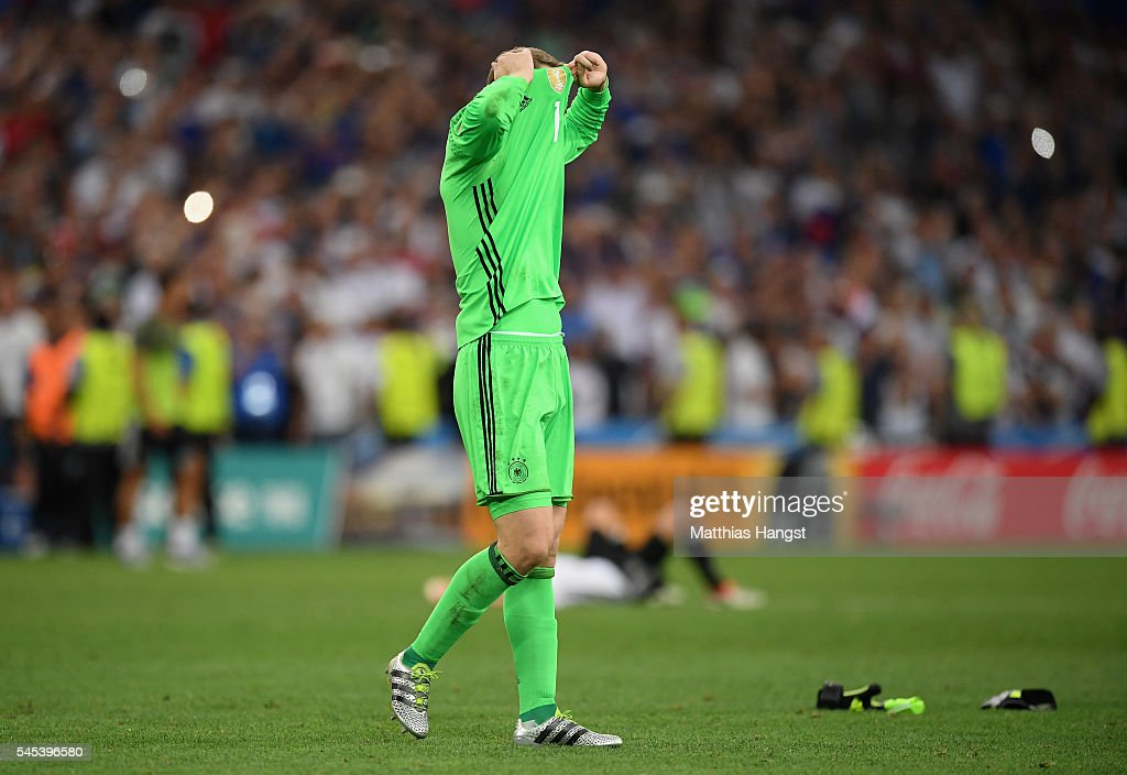 Manuel Neuer of Germany reacts after defeat in the UEFA EURO semi final match between Germany and France at Stade Velodrome on July 7 2016 in...