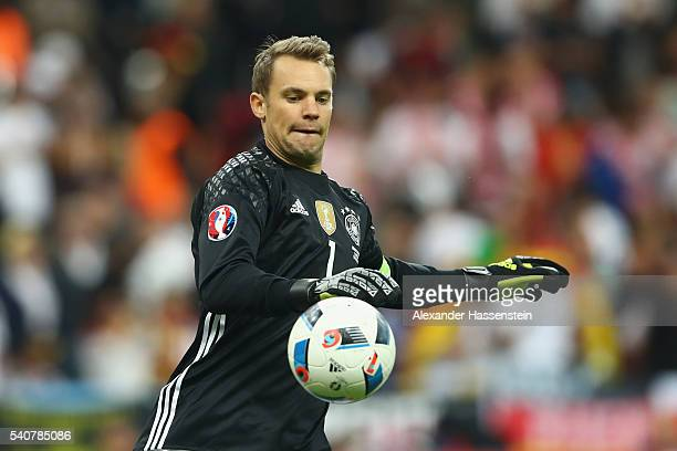 Manuel Neuer of Germany reacts during the UEFA EURO 2016 Group C match between Germany and Poland at Stade de France on June 16 2016 in Paris France