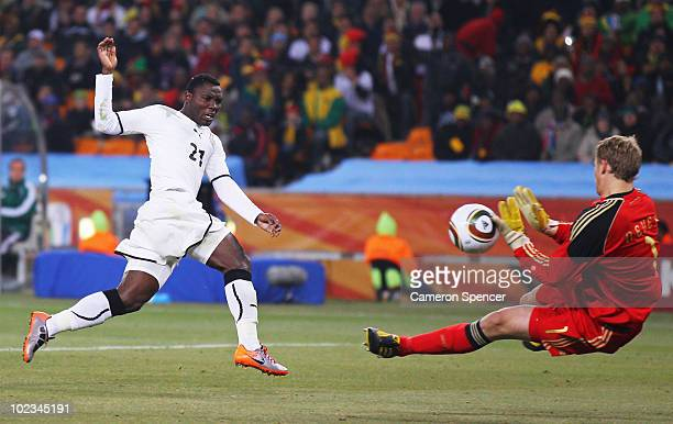 Manuel Neuer of Germany saves a shot on goal by Kwadwo Asamoah of Ghana during the 2010 FIFA World Cup South Africa Group D match between Ghana and...