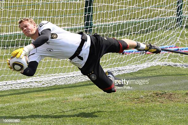Manuel Neuer of Germany saves the ball during a training session at Sportzone Rungg on May 26 2010 in Appiano sulla Strada del Vino Italy