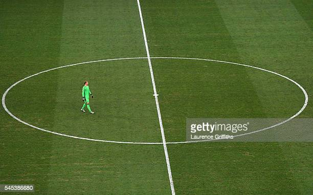 Manuel Neuer of Germany walks in the centre circle during the UEFA EURO semi final match between Germany and France at Stade Velodrome on July 7 2016...