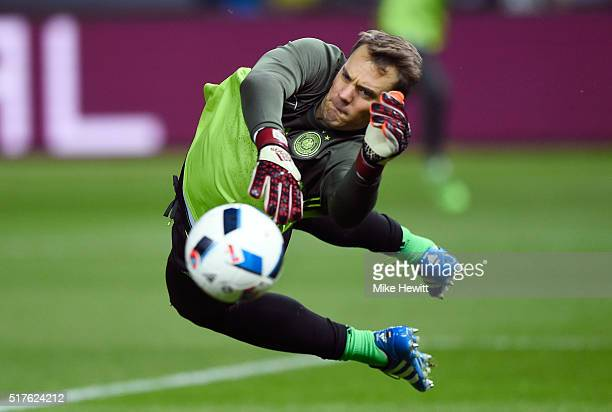 Manuel Neuer of Germany warms up prior to the International Friendly match between Germany and England at Olympiastadion on March 26 2016 in Berlin...