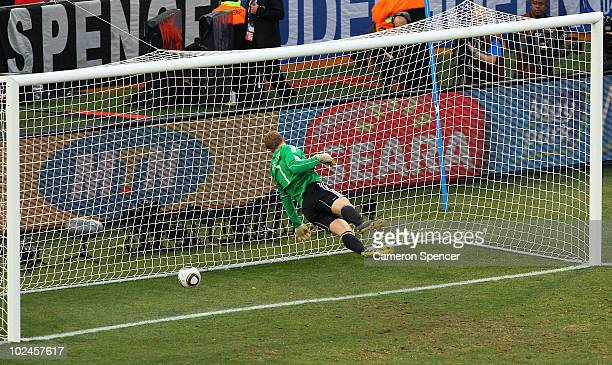 Manuel Neuer of Germany watches the ball bounce over the line from a shot that hit the crossbar from Frank Lampard of England but referee Jorge...