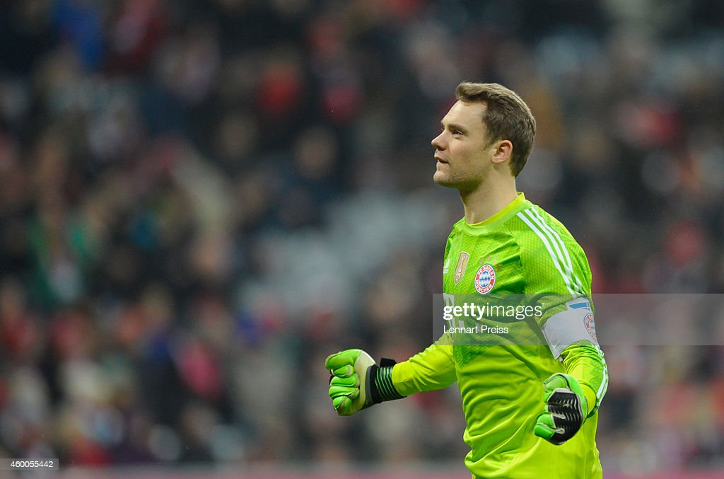 <a gi-track='captionPersonalityLinkClicked' href=/galleries/search?phrase=Manuel+Neuer&family=editorial&specificpeople=764621 ng-click='$event.stopPropagation()'>Manuel Neuer</a> of Muenchen celebrates the victory after the Bundesliga match between FC Bayern Muenchen and Bayer 04 Leverkusen at Allianz Arena on December 6, 2014 in Munich, Germany.