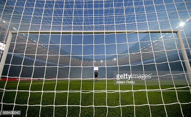 Manuel Neuer of Muenchen looks on during the DFB Cup Final 2016 between Bayern Muenchen and Borussia Dortmund at Olympiastadion on May 21 2016 in...