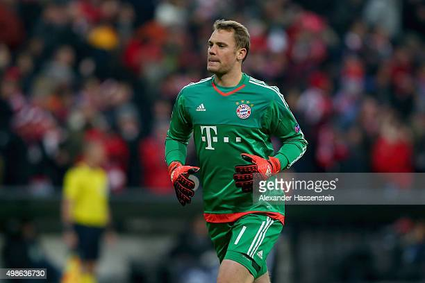 Manuel Neuer of Muenchen looks on during the UEFA Champions League Group F match between FC Bayern Muenchen and Olympiacos FC at Allianz Arena on...