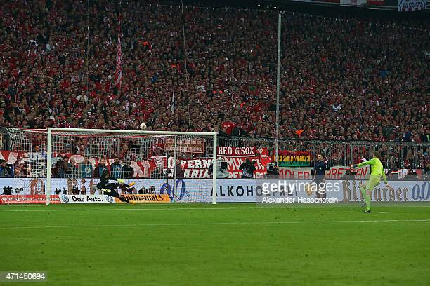 Manuel Neuer of Muenchen missed his penalty against Mitchell Langerak keeper of Dortmund during the penalty shot out of the DFB Cup Semi Final match...