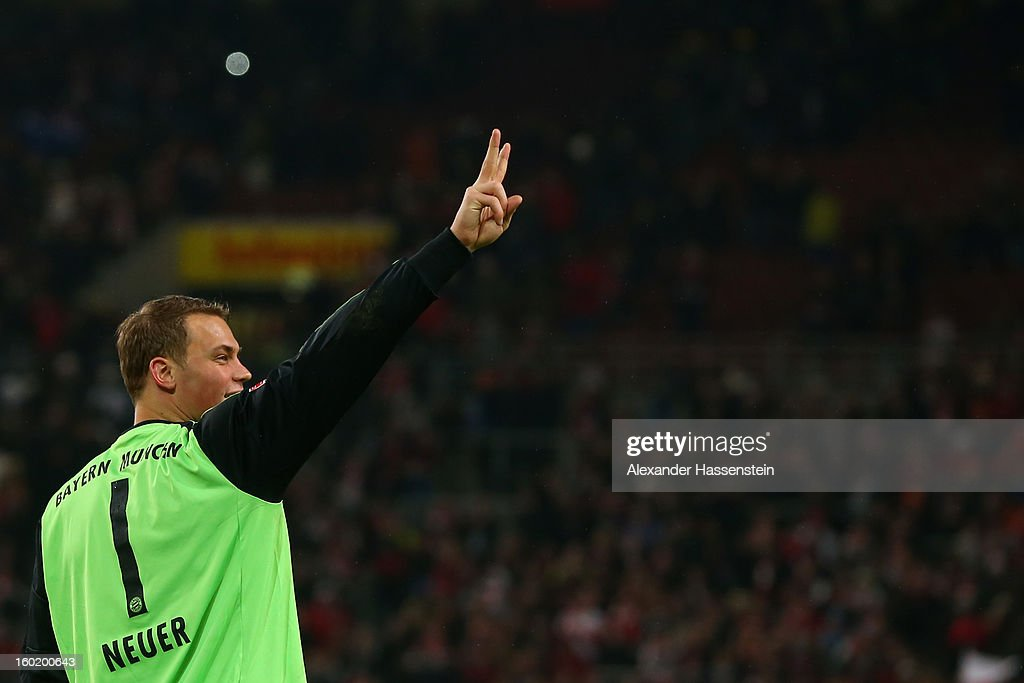 Manuel Neuer of Muenchen reacts after winning the Bundesliga match between VfB Stuttgart and FC Bayern Muenchen at Mercedes-Benz Arena on January 27, 2013 in Stuttgart, Germany.
