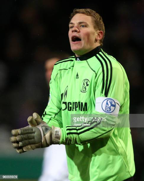 Manuel Neuer of Schalke gestures during the DFB Cup quarter final match between VfL Osnabrueck and FC Schalke 04 at osnatel Arena on February 10 2010...