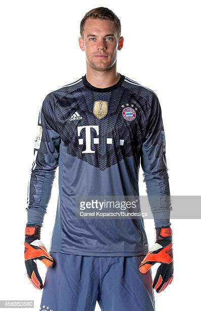 Manuel Neuer poses during the FC Bayern Muenchen Team Presentation for DFL on August 9 2014 in Munich Germany