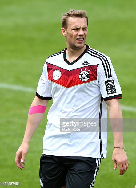 0 Manuel Neuer reacts during the German National team training session at StMartin training ground on May 30 2014 in St Martin in Passeier Italy