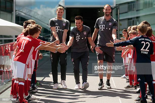 Manuel Neuer Sven Ulreich and Tom Starke goalkeeper of FC Bayern arrive for the Audi car handover at Audi Forum on August 22 2016 in Ingolstadt...