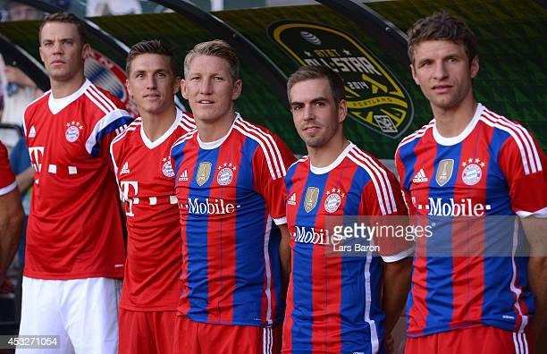 Manuel Neuer Tobias Schweinsteiger Bastian Schweinsteiger Philipp Lahm and Thomas Mueller are seen during the MLS AllStar game between the MLS...